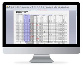 Betriebstagebuch auf PC-Bildschirm